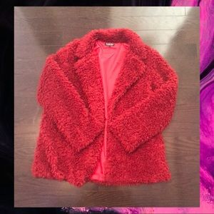 Red Faux Fur Fluffy Coat